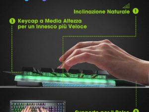 Tastiera Gaming PC VicTsing Reotroilluminazione Regolabile Multicolore 4