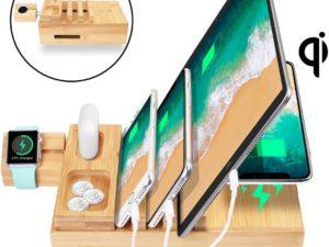 AICase Stazione di Ricarica USB Multipla 5 Porte con Caricatore Wireless
