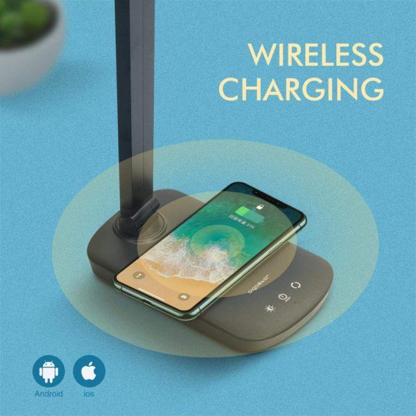 Aigostar Owen - Lampada da Scrivania LED con Ricarica Wireless
