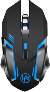 TENMOS X96 Ricaricabile Wireless Gaming Mouse, Ottico Retroilluminato Mouse Senza Fili Del Computer, Silenzioso Click, Sonno automatico, 3 dpi regolabile, 6 pulsanti per Mac:PC:Notebook